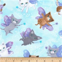 Timeless Treasures Fairy Cats Sky