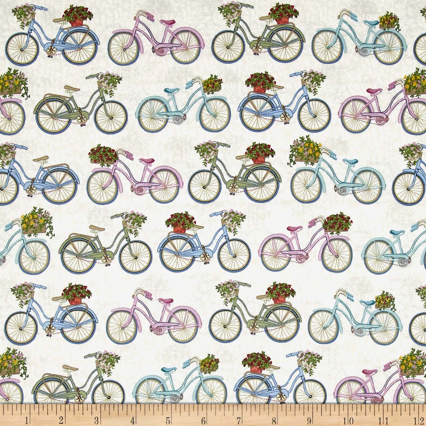 Antique Garden Bicycles Cream Fabric by Andover & Makower in USA