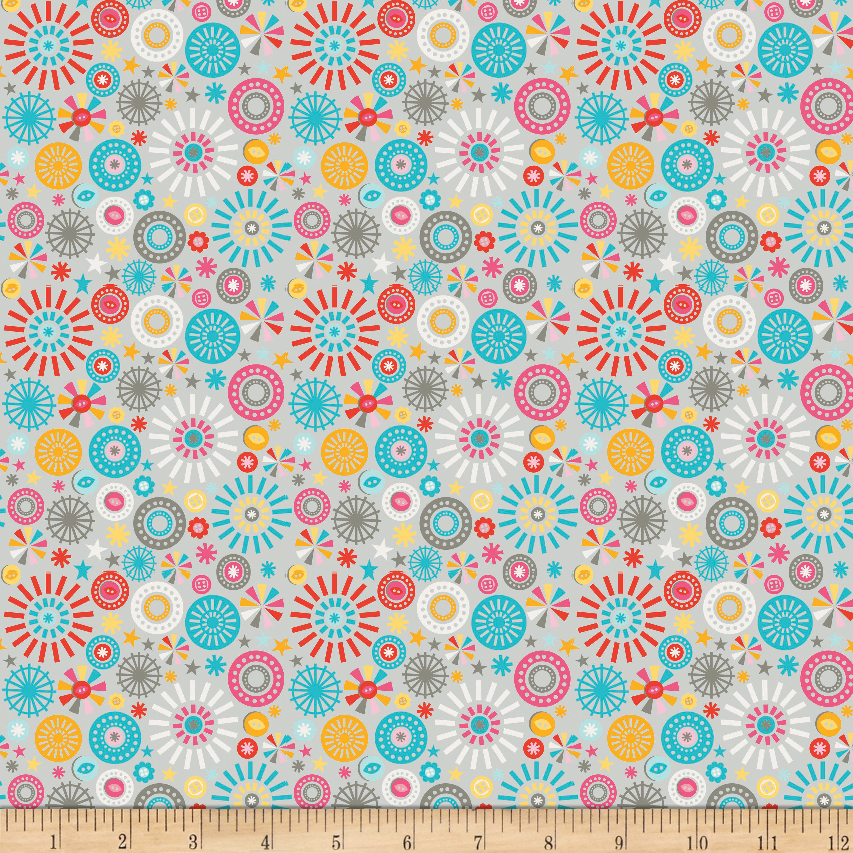 Riley Blake Girl Crazy Petals Grey Fabric