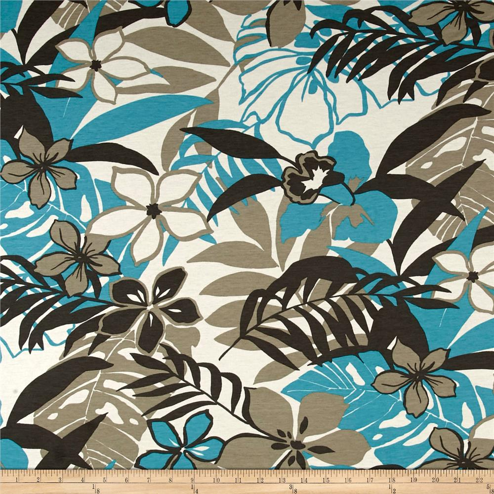 French Designer Cotton Jersey Knit Tropical Floral Aqua/Taupe