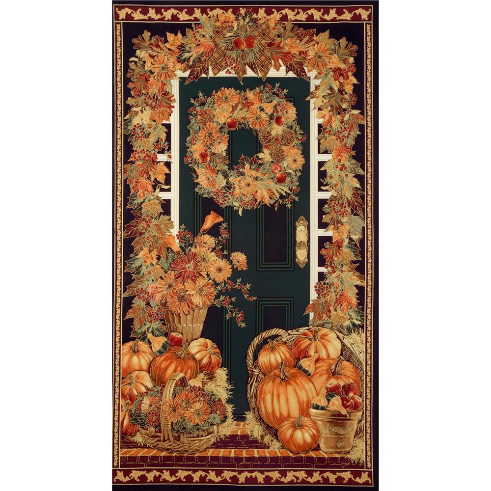 Timeless Treasures Gather Together Metallic Harvest Panel Harvest