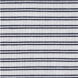 Designer Rib Knit White w/b navy stripes