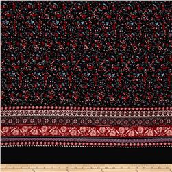 Bubble Crepe Stretch Floral Double Border Black/Wine