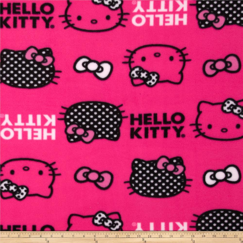 Hello Kitty Fleece Set Head Toss & Bows Pink Fabric