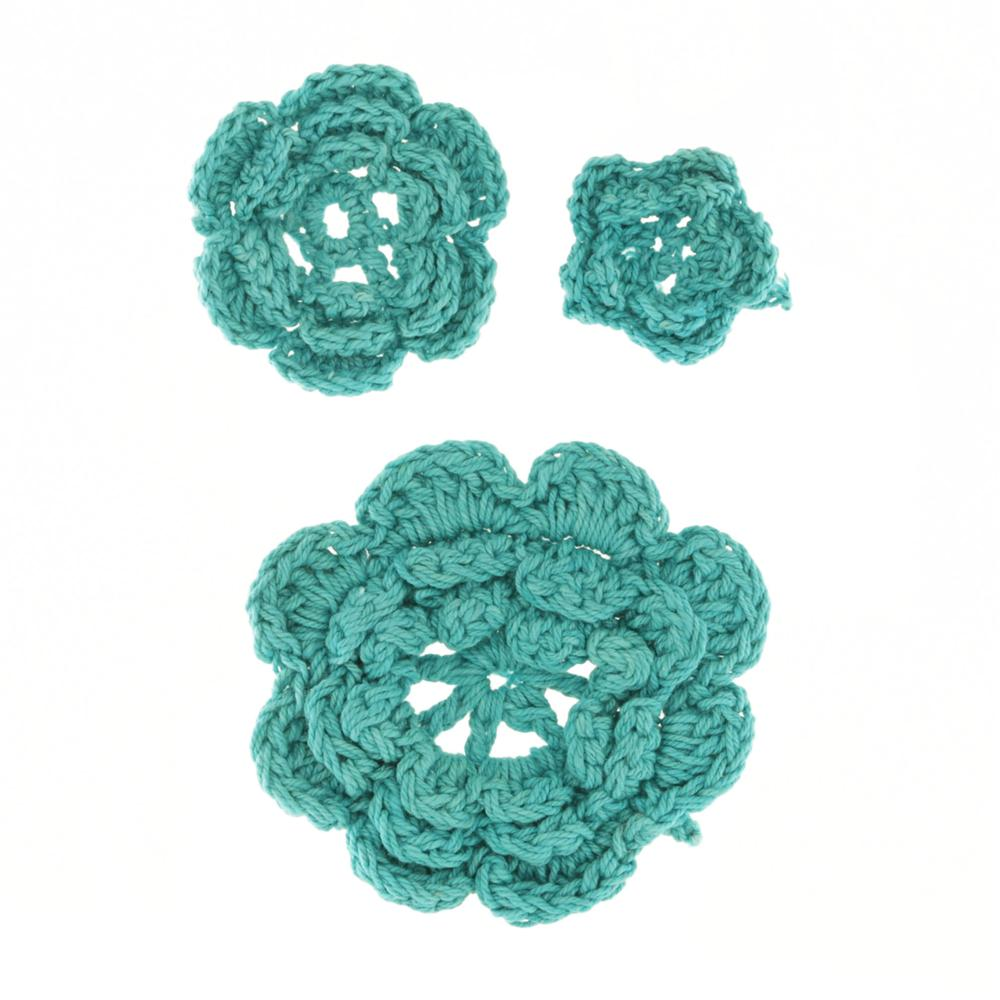 Riley Blake Sew Together Crochet Flowers 3pk Aqua