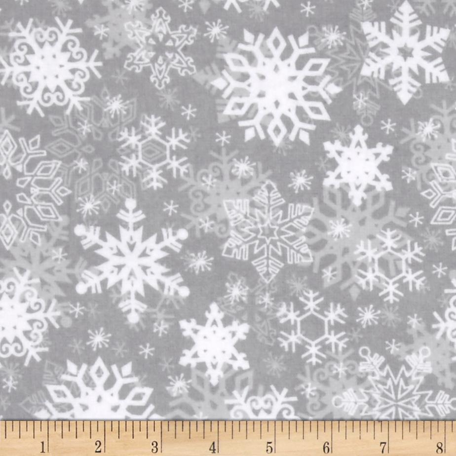 Snow Buddies Flannel Snowflakes Gray
