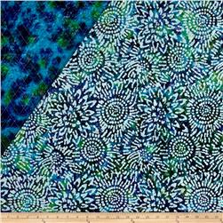 Double Face Quilted Indian Batik Sunflower Blue/Purple/Teal