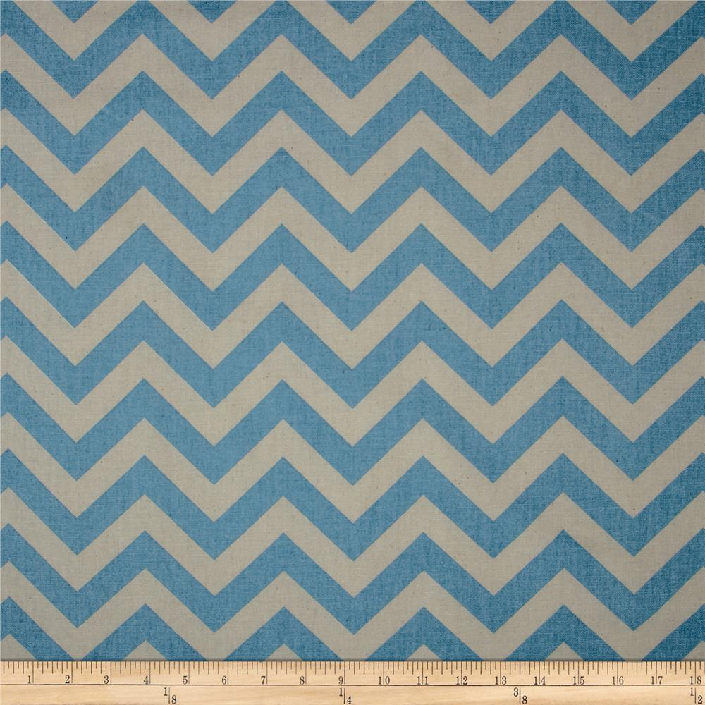 Premier Prints Zig Zag Pewter/Blue