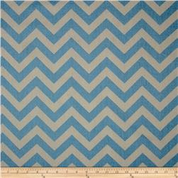 Premier Prints Zig Zag Pewter/Blue Fabric