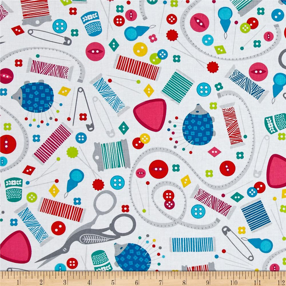 Sew much fun sewing paraphernalia white discount for Cheap sewing fabric
