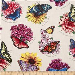 Butterfly Garden Named Butterflies Cream Fabric