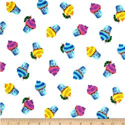 Happy Birthday Cupcakes Tossed White/Multi