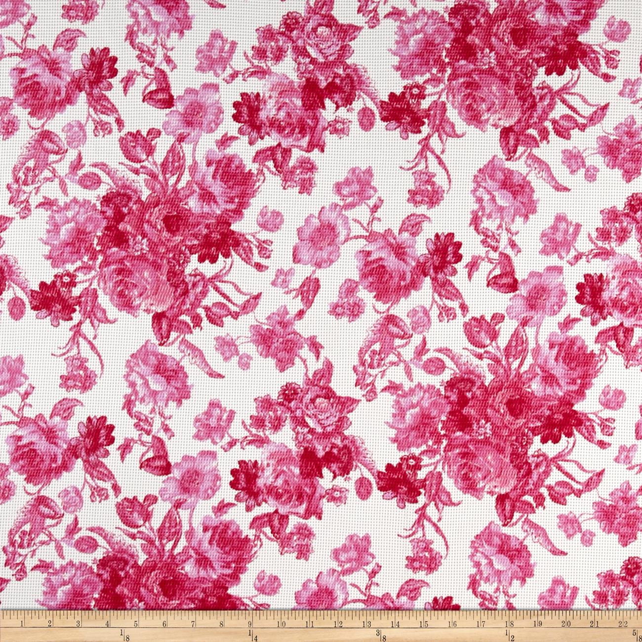 Romantic Floral Pique Knit Print Ivory/Fruitpunch Fabric by Neiman in USA