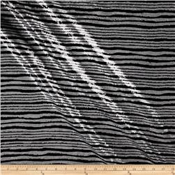 Wavy Stripe Sequin Mesh Silver/Black