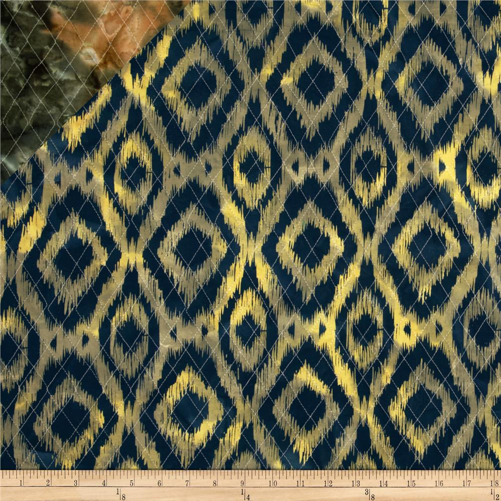 Double Sided Quilted Indian Batik Ikat Navy/Yellow