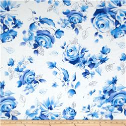 Michael Miller Blue & White Sharon Large Floral Azure