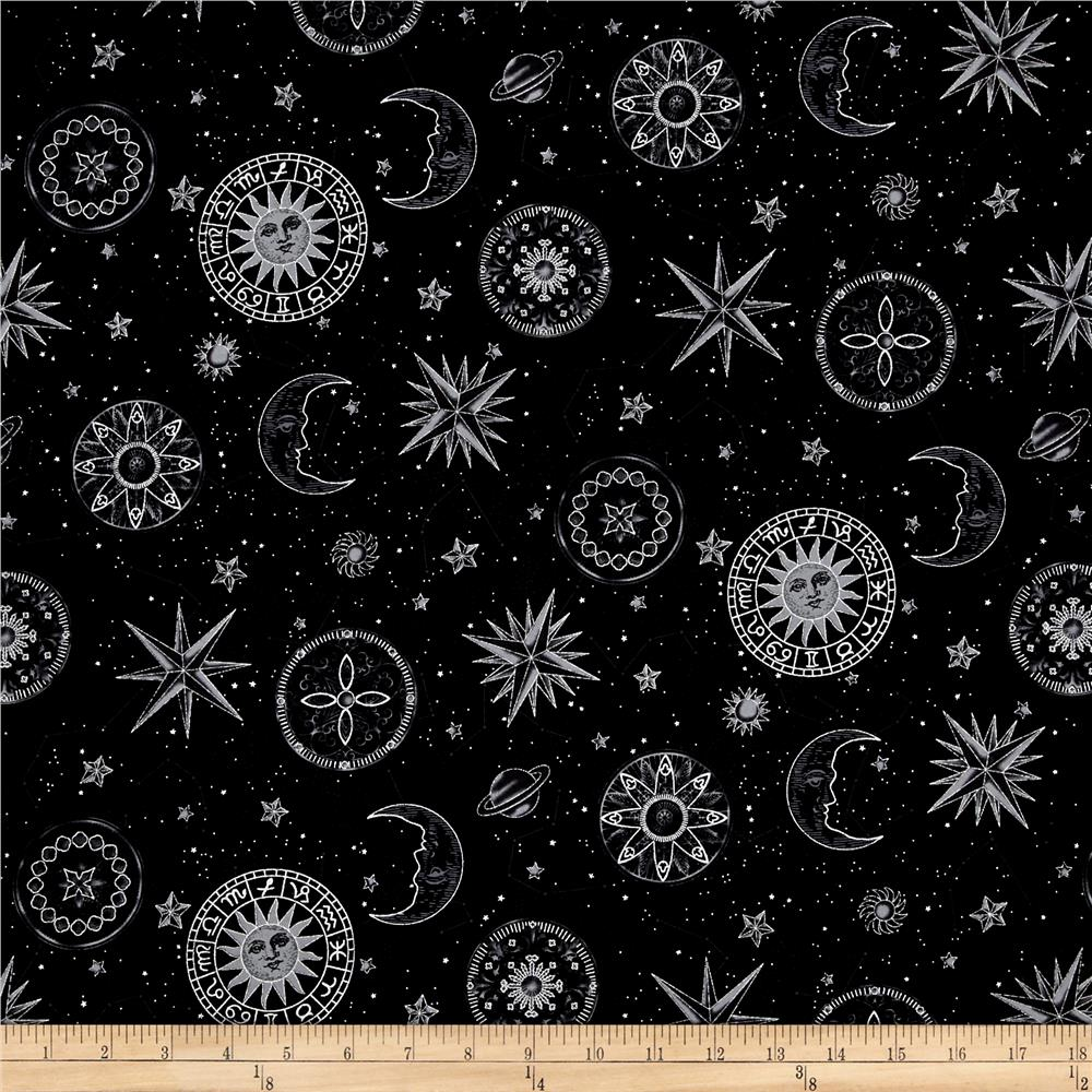 Star Gazing Metallic Moons And Stars Black/Silver