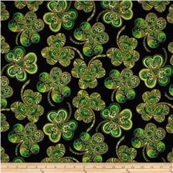 Shamrock Celebration Metallic Large Shamrocks Black