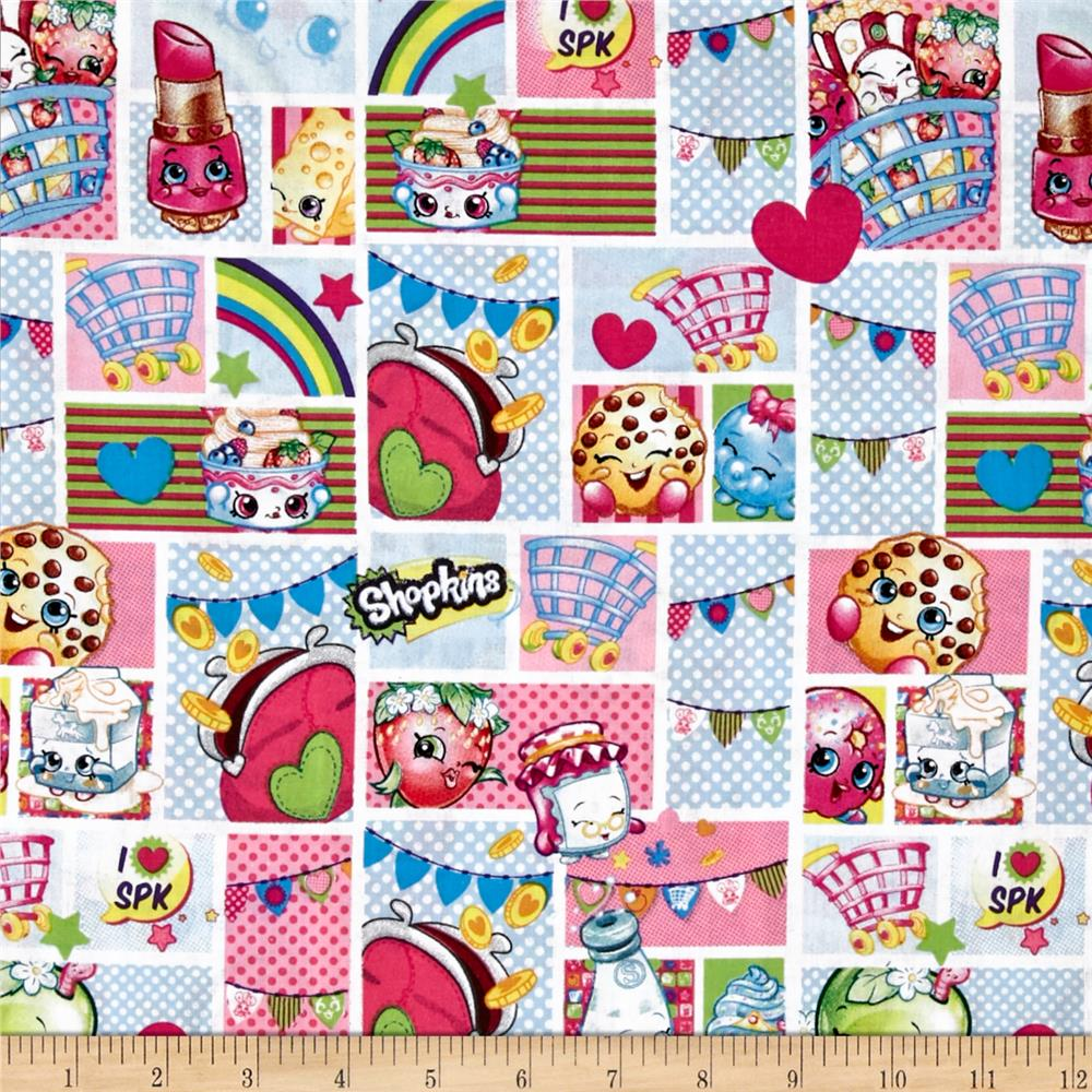 Moose Shopkins Patch Party Multi Fabric By The Yard