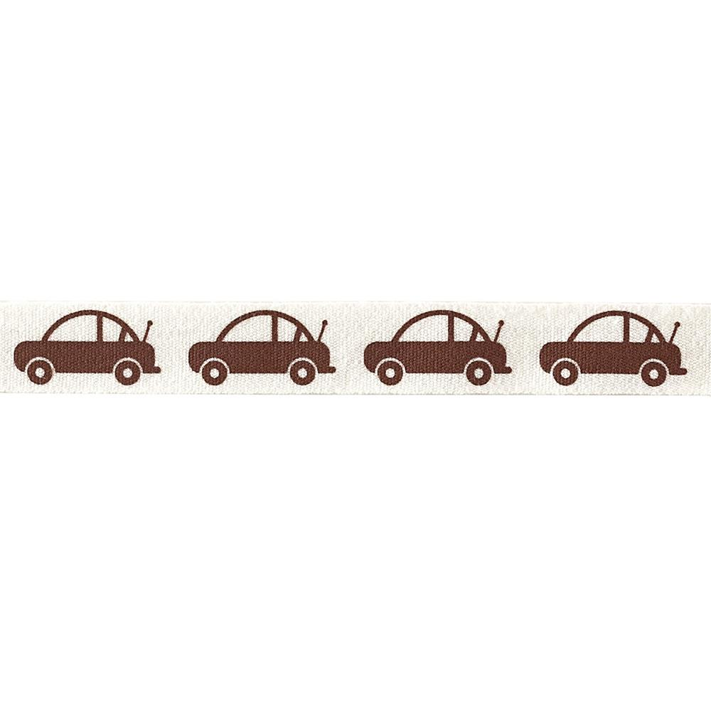 "Riley Blake 1/2"" Cotton Tape Ribbon Cars Brown"