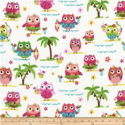 Timeless Treasures Luau Mini Owls White Fabric