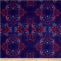 Stretch ITY Knit Scroll Ornate Print Navy