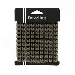 1/4'' Stud Square Spike Trim Gray 2 yd pkg