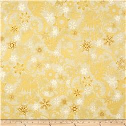 Kaufman Holiday Flourish Metallics Snowflakes Ivory
