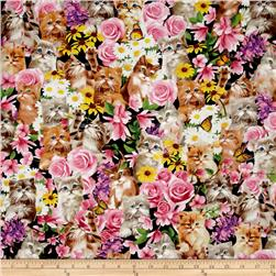 Timeless Treasures Graphic Floral Rose Kitty& Flowers Multi