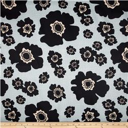 Bartow Indoor/Outdoor Floating Poppies Black/Grey Fabric