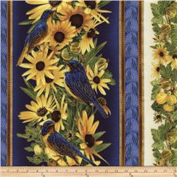 Timeless Treasures Blue Bird Metallic Daisy/Bird Border Stripe Navy