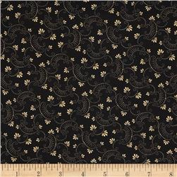Moda Clara's Garden 108'' Wide Back Swirls and Blooms Black