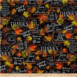 Timeless Treasures Give Thanks Metallic Harvest Chalkboard Black