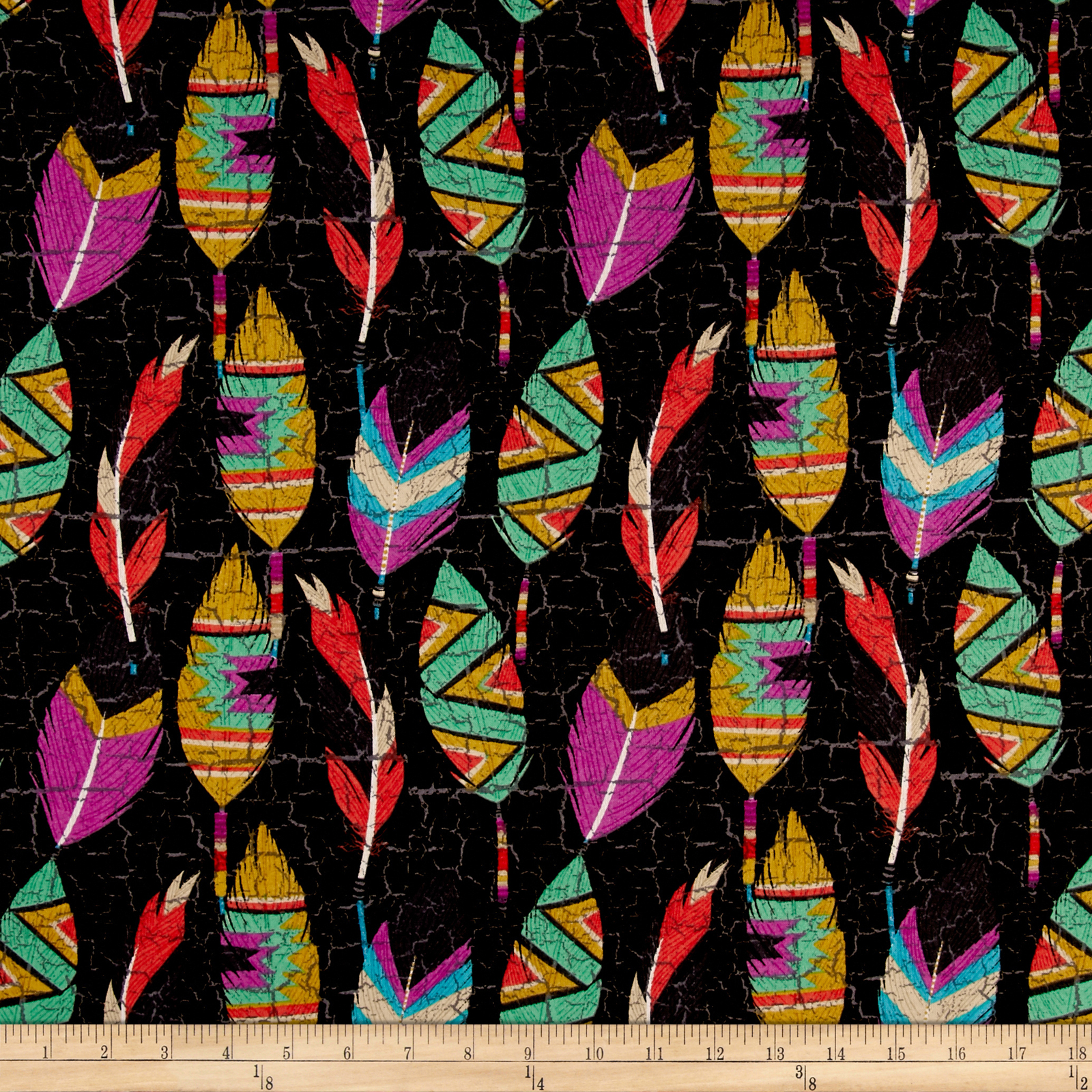 Southwest Feathers Black Fabric by E. E. Schenck in USA