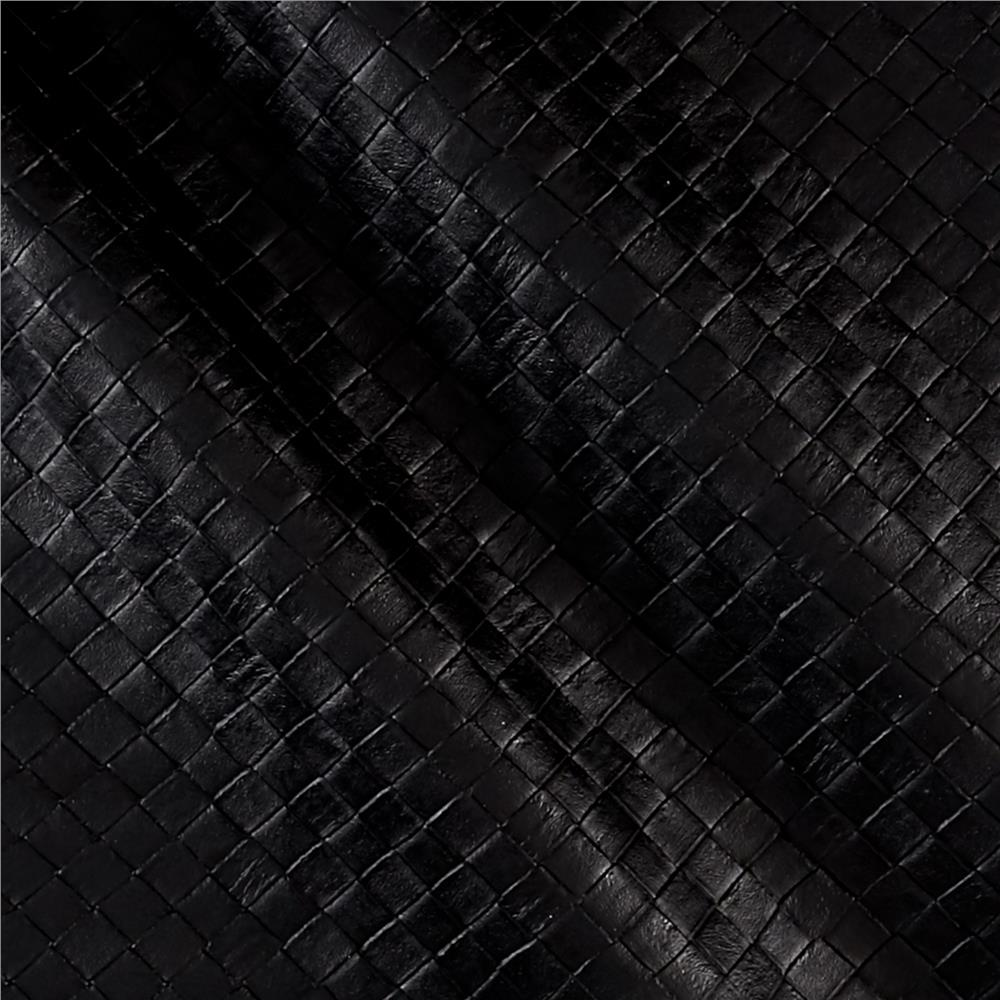 Faux Leather Tile Basketweave Black Discount Designer