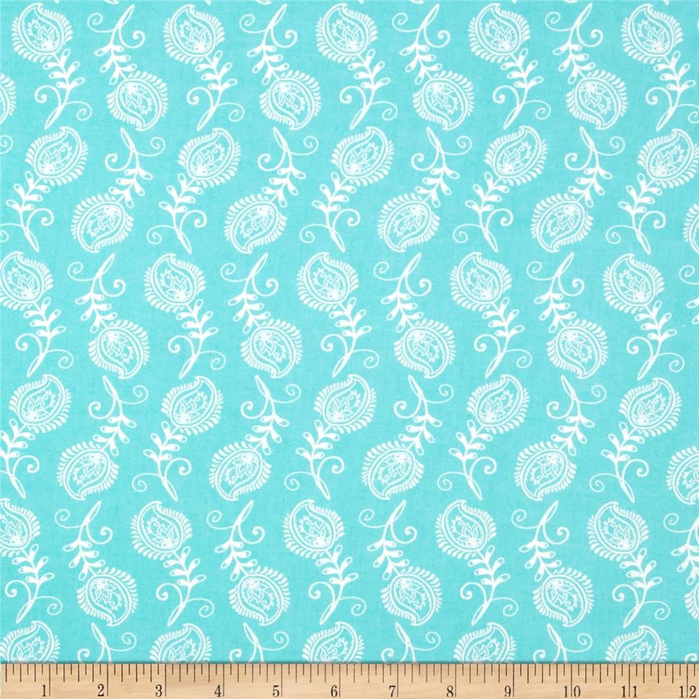 Contempo Feathers Aqua/White