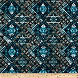 ITY Jersey Knit Diamond Ethnic Teal