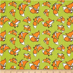 Frolicking Forest Foxes Green