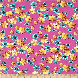 Rayon Challis Floral Candy Pink/Yellow/Green
