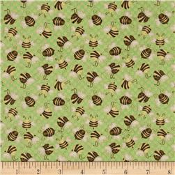Let it Bee Bees Green Fabric