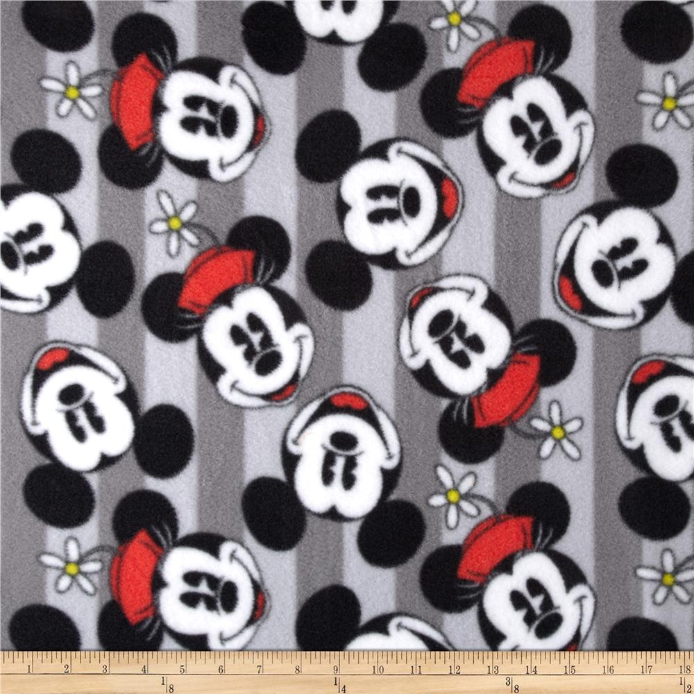 Mickey & Minnie Head Stripe Fleece
