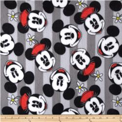 Mickey & Minnie Head Stripe Fleece Fabric