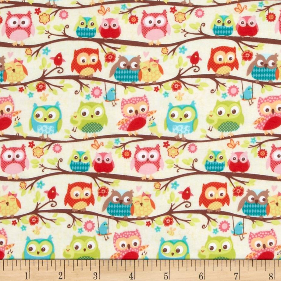 Riley Blake Cotton Jersey Knit Happy Flappers Owl Cream