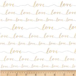 Kaufman Love Metallic Love Words Holiday