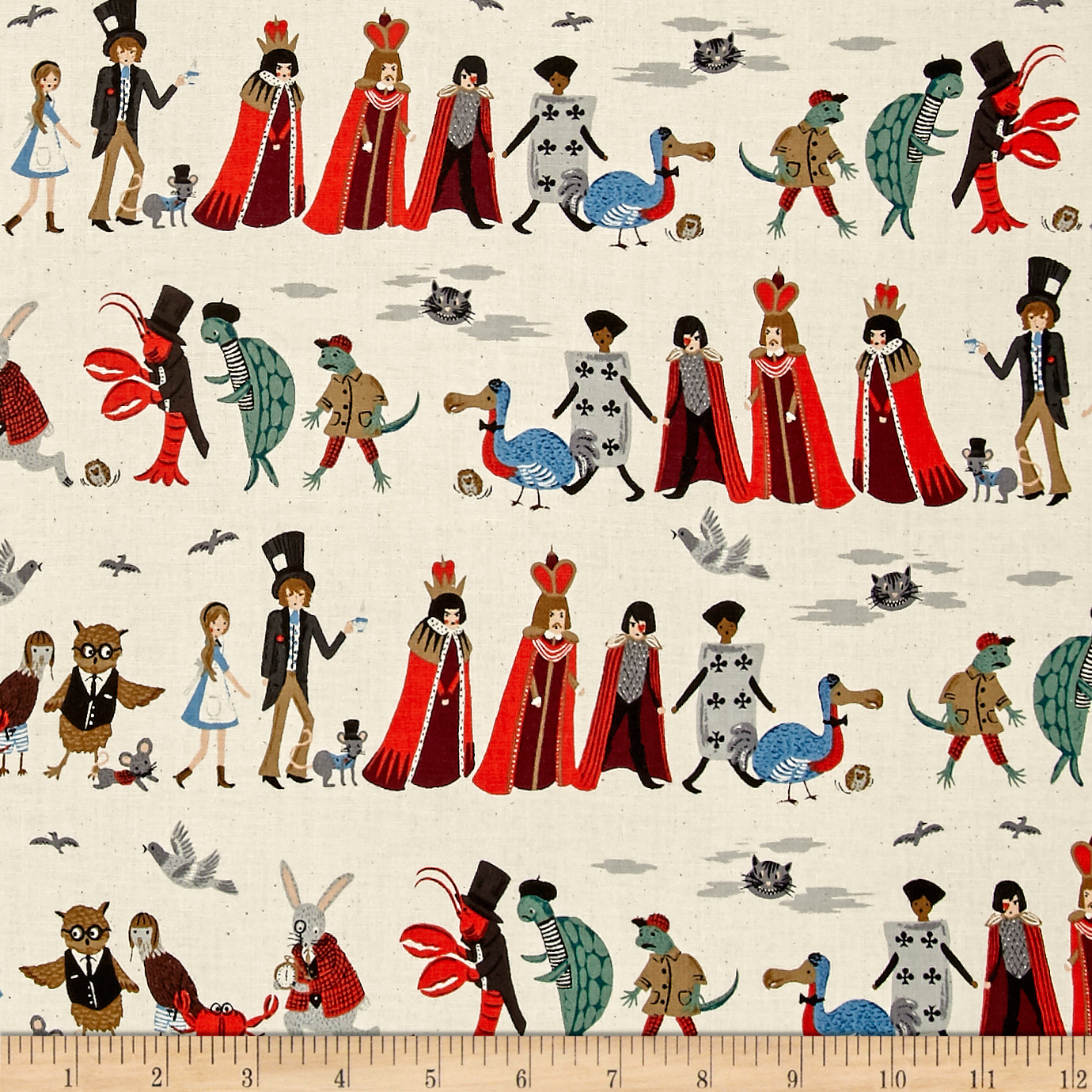 Image of Cotton + Steel Rifle Paper Co. Wonderland Procession Neutral Fabric