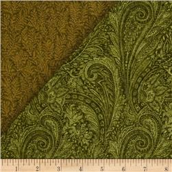 Lauren Double Sided Quilted Paisley Green Fabric