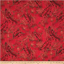 Hoffman Tropical Collection Hibiscus Tone on Tone Red