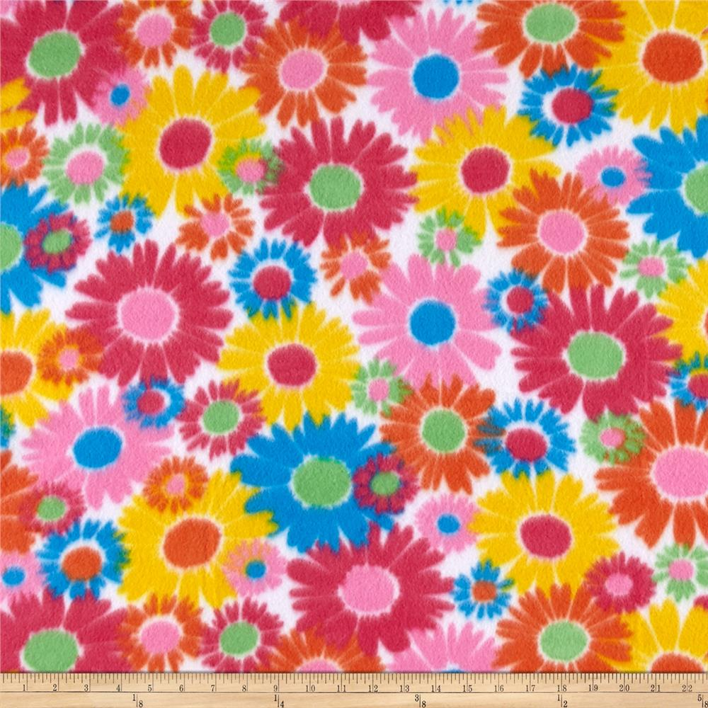 Polar Fleece Print Anouk Flower Power Blue Fabric