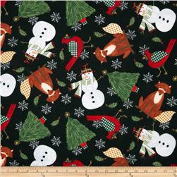 Timeless Treasures Holiday Flannel Character Toss Black Fabric