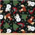 Timeless Treasures Holiday Flannel Character Toss Black